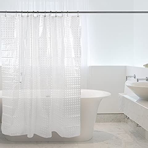 Bathroom Curtains,Semi-Transparent,3D Effect,Shower Curtains Liner with 12pcs Stainless Steel Hooks Rings Set 72*72in for Home Hotel by Kilokelvin (3D Lattice)