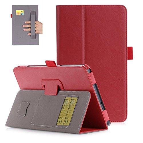 Wendapai Samsung Galaxy Tab A 8.0 2017 T380 Hülle,[ Shock Absorbent ] Covers for PU Leder Kartenschlitz Brieftasche Hülle dauerhaft Flip Hülle zum Samsung Galaxy Tab A 8.0 2017 T380 Red