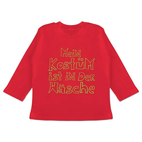 (Karneval und Fasching Baby - Mein Kostüm ist in der Wäsche - 3-6 Monate - Rot - BZ11 - Baby T-Shirt Langarm)