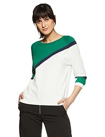 United Colors of Benetton Women's Regular Fit Long Sleeve Top (18P1088E1021I_Snow White+Verdant Green+Peacoat_XS)