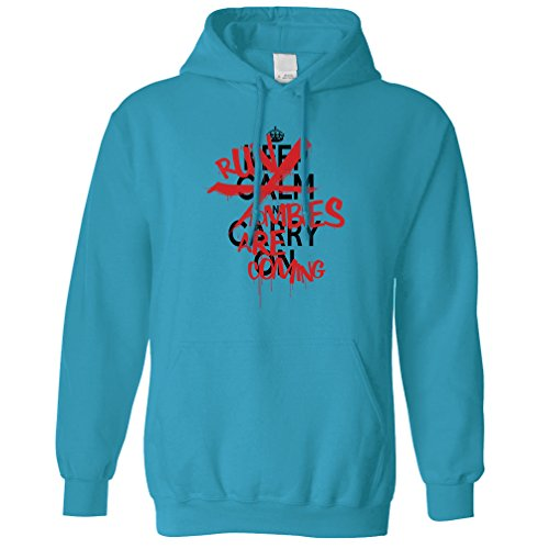 Halloween Kapuzenpullover Keep Calm & Run, Zombies kommen, Sapphire ()
