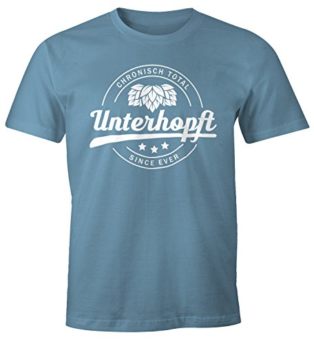 Chronisch Unterhopft Total Herren T-Shirt Since Ever Fun-Shirt Moonworks® Unterhopft stone blue