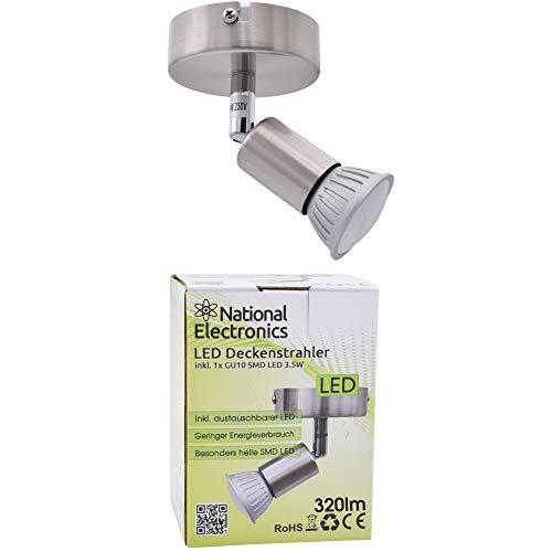 National Electronics Deckenstrahler | GU10 3.5W 320 Lumen SMD LED | Deckenlampe AC 230V 120° Deckenleuchte warmweiß