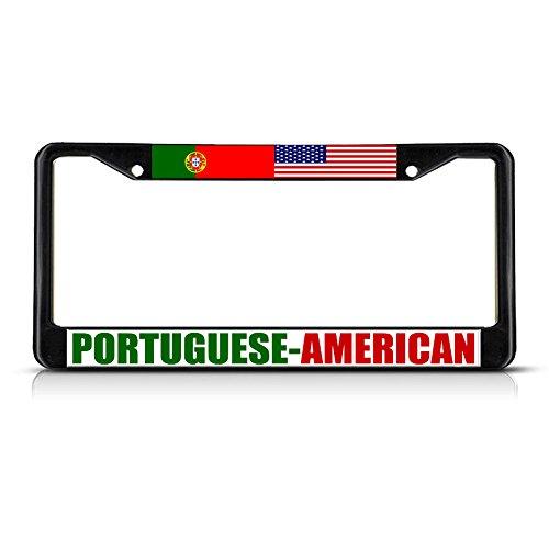 Moon Portugiesischer amerikanischer schwarzer robuster Metall-Kennzeichenrahmen, ideal für Herren und Damen, Auto-Garadge Dekor