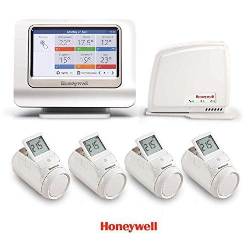 Preisvergleich Produktbild Honeywell evohome II Paket mit 4 Regler, Bediengerät & Gateway Smartphone App