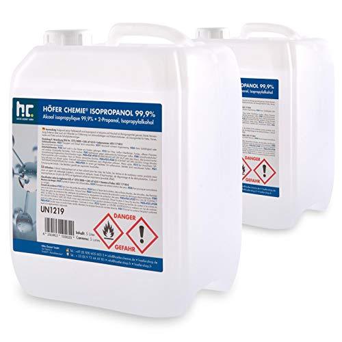 2 x 5 L Isopropanol 99,9% IPA von Höfer Chemie frisch abgefüllt im handlichen 5 L Kanister - perfekt als Lösungsmittel und Fettlöser geeignet