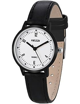 Dovoda Damen Uhren Schwarze Leder Armbanduhr Datum Kalender Uhr Beiläufig Geschäfts Analog Quarzwerk Wasserdichte...