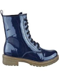 Sopily - Zapatillas de Moda Botines Botas militares Media pierna mujer flashy Talón Tacón ancho 3.5 CM - plantilla textil - Azul