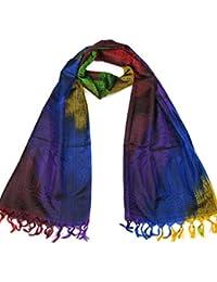Lovarzi - Bufanda de seda de mujer - rainbow lujoso paisley pañuelos de seda
