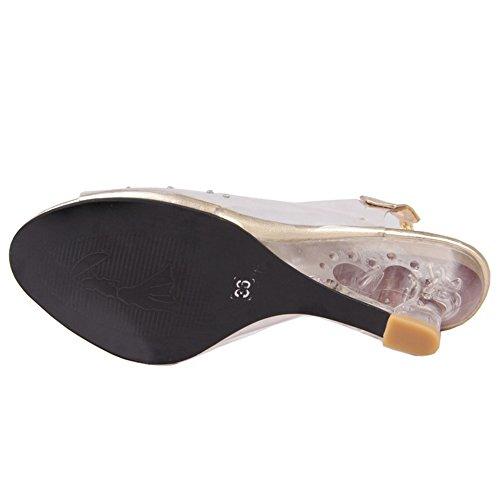 COOLCEPT Damen Mode Slip On Sandalen Open Toe Keilabsatz Slingback Schuhe Gold