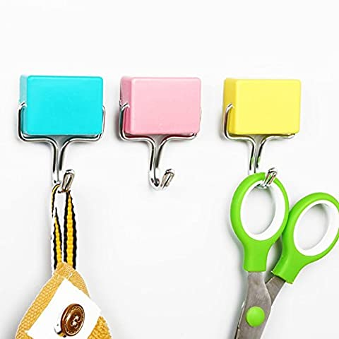 Fittoway Super Strong Magnetic Seamless Hooks Hangers for Kitchen Refrigerator,Microwave (Random Color-Yellow,Green,Pink) (4 Sets)
