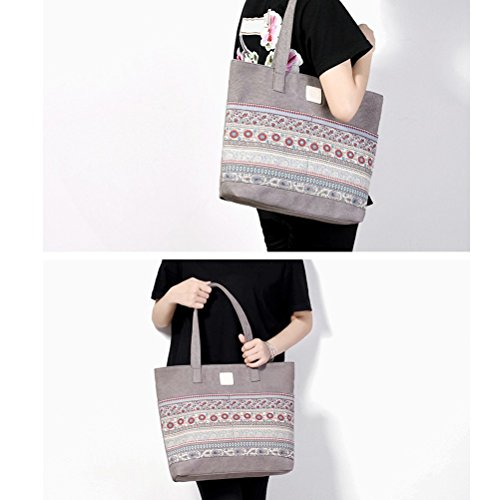 Zhuhaitf Große Kapazität National Printing Canvas Shopping Tote Handbag Shoulders Bag for Women Ladies and Girls Grey
