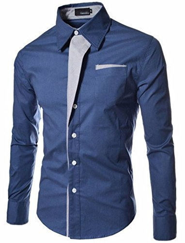 Men's Twill Striped Patch Long Sleeve Dress Shirts dclp S16 blue