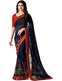 Kalapy Fashion Women's Georgette Silk Saree With Blouse And Fancy Lace