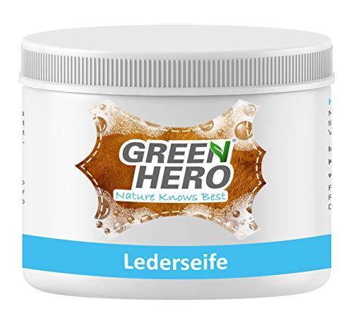 Green Hero Lederseife, 500 ml, Lederreiniger inkl. Reinigungsschwamm für Glattleder, Auto, Schuhe, Couch, Taschen und Möbel - Schaum-leder-sattel