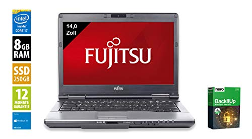 Fujitsu LifeBook S751 | Notebook | Laptop | 14,0 Zoll (1366x768) | Intel Core i7-2640M @ 2,8 GHz | 8GB DDR3 RAM | 250GB SSD | DVD-Brenner | Webcam | Windows 10 Home (Zertifiziert und Generalüberholt)