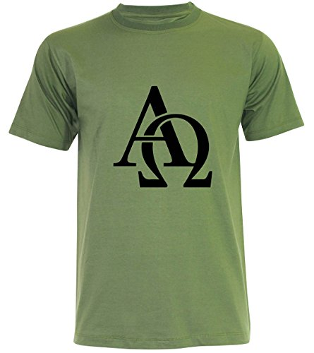PALLAS Men's Omega and Alpha Symbols T Shirt Junglegreen