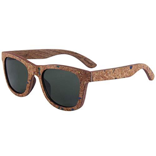 MWPO Retro Pure Wood Frame Polarisierte Shiny Cork Laminierte Gläser UV-Schutz Polarisierte Gläser (Farbe: GRÜN)