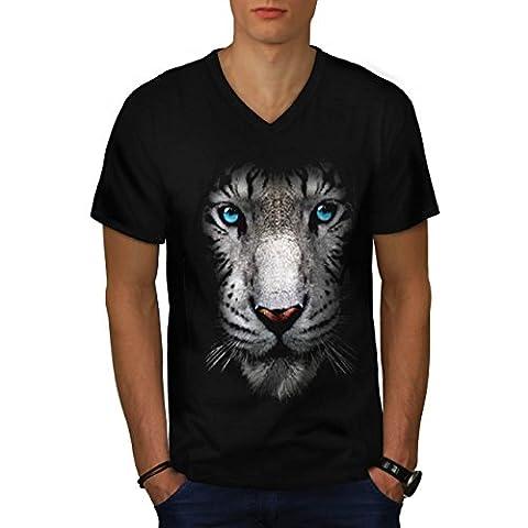 White Tiger Siberia Big Predator Men Black M V-Neck T-shirt   Wellcoda