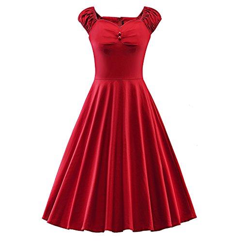 LUOUSE Damen Audrey Hepburn 50s Retro Vintage Bubble Skirt Rockabilly Swing Evening Kleider,Red,XL (Bubble Skirt)