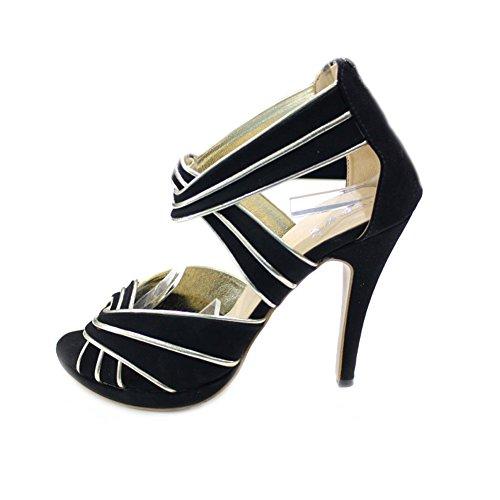 W & W femmes Mesdames Casual Talon Haut Sandales de soirée Chaussures Taille (Polen) doré/noir