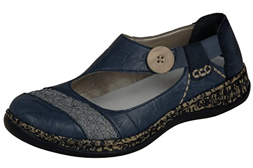 Rieker Damen 46324 Geschlossene Ballerinas Blau (Azur/Jeans / 13) 42 EU