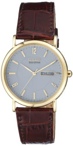 Citizen BM8243-05AE - Reloj analógico de cuarzo para hombre con correa de piel, color marrón