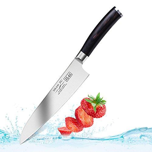 Küchenmesser Professionelle Kochmesser 20cm Allzweckmesser Hochgekohlt Edelstahl Messer Komfort Pakka Holz Griff