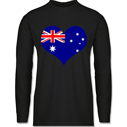 Shirtracer Länder - Herz Australien - Herren Langarmshirt Schwarz