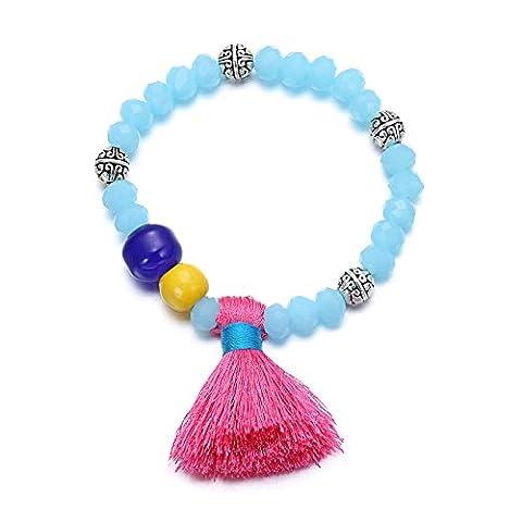 eManco Blue Crysatl Bead Bracelet with Pink Tassel Charm for Women Jewellery for Women Fashion Jewellery