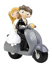 Idea Regalo - Mopec Y534 - Decorazione per torta nuziale, sposi in moto, 17 cm