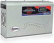 Microtek EM4160+ Automatic Voltage Stabilizer for AC up to 1.5 ton (160V-285V), Metallic Grey – Digital Displa