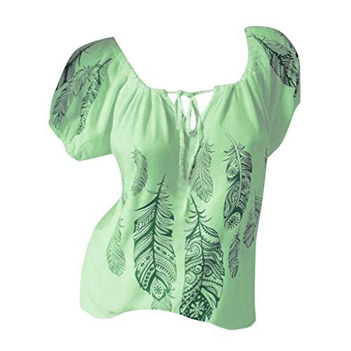 Zegeey Damen T-Shirt GroßE GrößEn Blumendruck Schulterfrei Schicker Elegant LäSsige Lose Oberteil Bluse Pullover Tops Shirt Hemd(E1-Grün,EU-46/CN-4XL)