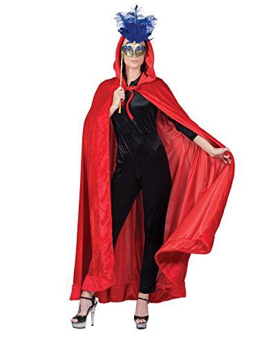 Venezianischer Umhang mit Kapuze Rot - Schön zu Venedig, Maskenball und Mittelalter Kostüme
