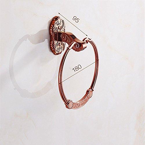 Or rose de style européen baignoire sèche-serviettes sèche-serviettes métal sculpté-à-suit, anneau de serviette
