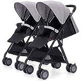 LIU UK Baby Stroller Cochecito de bebé Gemelo, Desmontable Ligero Suspensión Plegable Carro Infantil Doble