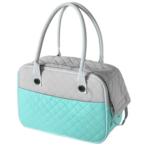 MG Collection Stilvolle 2 Tone Gesteppt Soft Sided Travel Hunde und Katzen Pet Carrier Tote Hand Tasche, S, Türkis -