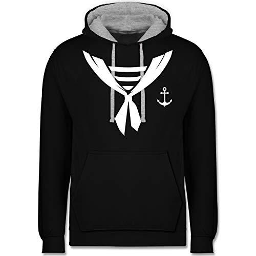 & Fasching - Seefahrer Halstuch Kostüm - XL - Schwarz/Grau meliert - JH003 - Kontrast Hoodie ()