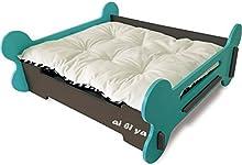 Cama de mascota estilo hueso perrera de madera gato pequeño perro de alta calidad cama sólida doble cara almohada para el invierno y el verano , green