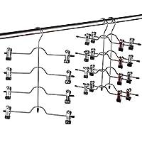 ZOBER Premium Non Slip Hangers - Multi Trouser Hanger with Adjustable Clips, Space Saving 4-on-1 GAIN 80% More Space, Skirt Hangers, Durable Metal Clothes Hanger- Slack, Jean, Towels