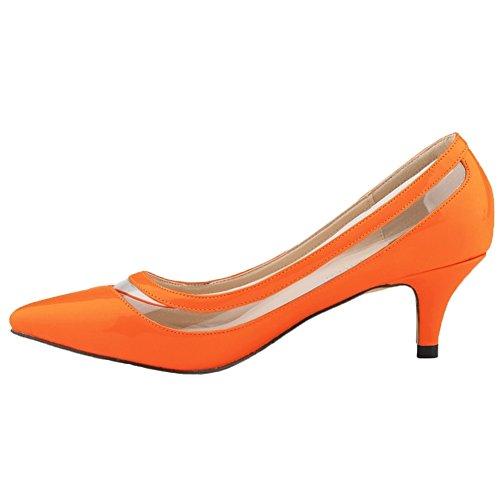 HooH Femmes Transparent Bonbons Couleur Pointu De Travail Escarpins Orange