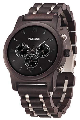 VOEONS Herren Uhr, Herren-Armbanduhr Chronograph Holzuhr mit Gliederarmband Schwarz 6010 - 2