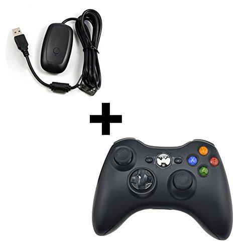 Xbox 360Controller Xbox 360Receiver Wireless Gamepad Joysticks Fernbedienung Controller Adapter für Microsoft Xbox 360Konsole PC Windows 78XP (Controllor + Empfänger)