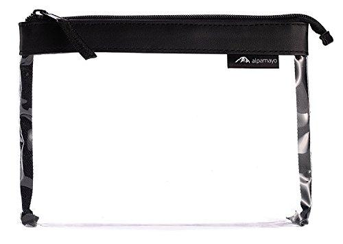 Alpamayo® transparente Kulturtasche für Flüssigkeiten im Handgepäck Koffer oder Trolley, durchsichtiger Kosmetikbeutel, ideal als Flugbeutel, 1l Volumen, schwarz