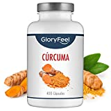 GloryFeel Cúrcuma Intensiva - 400 cápsulas veganas para más de 1 año - 700 mg de Curcuma y 2,1 mg de Pimienta Negra por cápsula - Antioxidante y antiinflamatorio natural - Sin aditivos