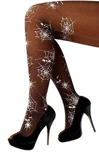 Strumpfhose Panty mit Spinnen Spinnennetz Musterung Fasching Karneval Halloween Kostüm Outfit Zubehör Cosplay ()