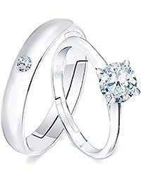 Wikimiu Anillos de parejas Plata, Anillos con circón para mujer y hombre, regalo perfecto para la boda de compromiso…