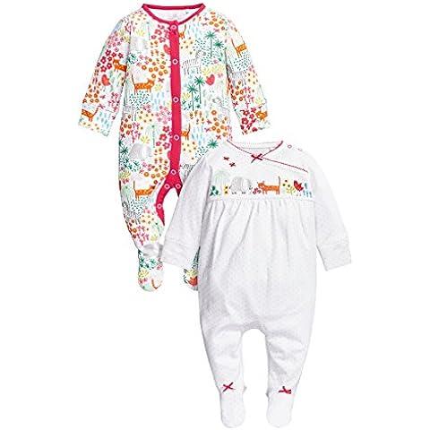 next Bebés Niñas Paquete De 2 Pijamas Peleles Estampado De Animales Colorido De Algodón (0 Meses-2