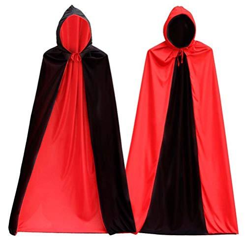 Doppelseitiger Kapuze, Schwarz und Rot für Vampiro Diable Demonio Kostüm und Mutter von Hallloween für Erwachsene 150 cm ()