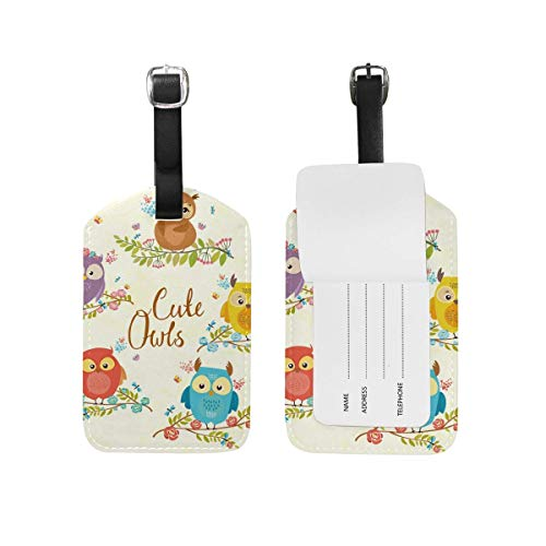 Kofferanhänger Spring Butterfly Owl Flower Pink Travel Bag ID Card Label Tag PU Leather for Baggage Suitcase(2Pack) 89tAGS1664 -